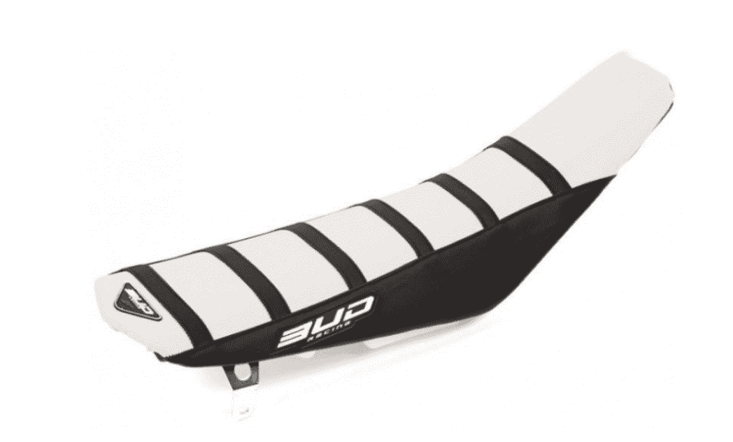 SEAT COVER BUDRACING HUSQVARNA TC/FC 14-15,TE/FE 14-16 WHITE/BLACK/BLACK STRIPES